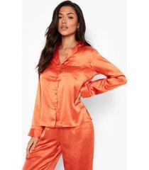 satijnen mix & match pyjama blouse, orange