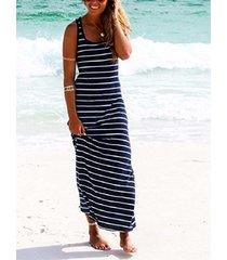 azul marino a rayas patrón scoop cuello maxi vestido