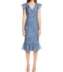 women's altuzarra tweed print ruffle trim midi dress