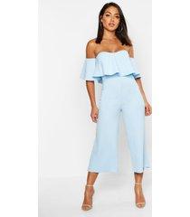 broekrok-jumpsuit met blote schouder, ruches en polkastippen, babyblauw