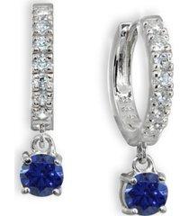 color cubic zirconia dangle drop huggie hoop earring in sterling silver