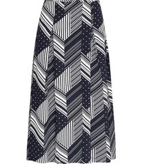 skirt printed knälång kjol blå park lane