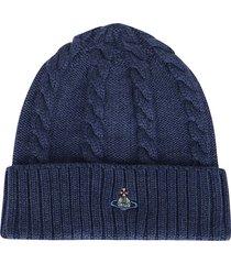 vivienne westwood blue virgin wool beanie hat