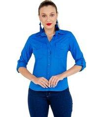 camisa latifundio tricoline com elastano manga longa feminina