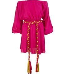 fuchsia short dress with off shoulders and braided belt