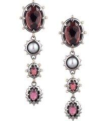alexis bittar women's two-tone, freshwater pearl & multi-stone dangling clip-on earrings
