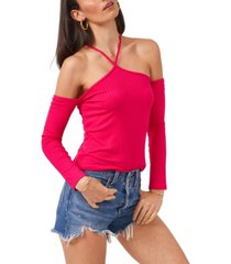 1.state long sleeve cold shoulder y-neck top