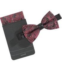 tallia men's floral scroll bow tie & pocket square set