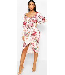 floral knot front rouche side midi dress, ivory