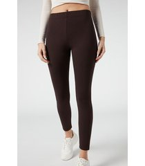 calzedonia high waisted leggings with comfort elastic woman brown size m