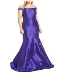 plus size women's mac duggal sequin trumpet evening dress