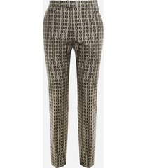 fendi stretch cotton trousers with all-over ff motif