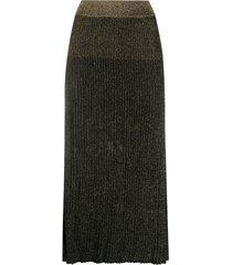 balmain glitter ribbed midi skirt - black