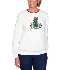alfred dunner petite penguin embroidered knit pullover