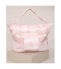 bolsa feminina estampada tie dye shopper rosa