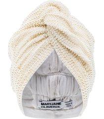 maryjane claverol faux-pearl beaded turban - white