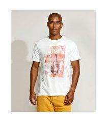 camiseta masculina básica brahma manga curta gola careca off white