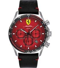 ferrari men's pilota evo men's black leather strap watch 44mm