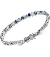 giani bernini blue cubic zirconia tennis bracelet in sterling silver, created for macy's