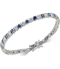 giani bernini cubic zirconia sapphire tennis bracelet in sterling silver, created for macy's