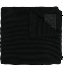 philipp plein logo skull embroidered scarf - black