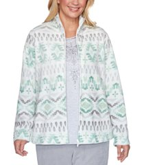 alfred dunner petite lake geneva printed biadere fleece jacket