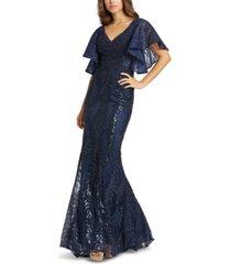 mac duggal embellished flutter-sleeve gown