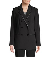 faux leather-trim double-breasted jacket