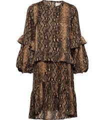 alberta jurk knielengte bruin munthe