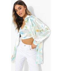 satijnen oversized tie dye blouse, white