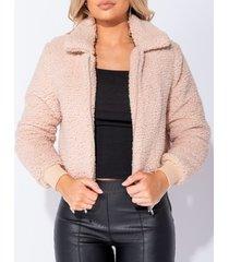 blazer parisian borg fur zip front bomber jacket -