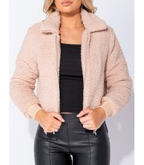 blazer parisian borg fur zip front bomber jacket