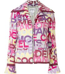 chanel pre-owned 2000 all-over logo zipped jacket - multicolour