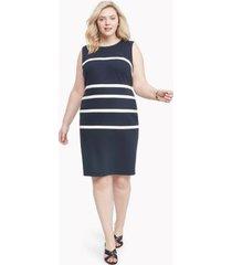 tommy hilfiger women's curve striped sleeveless dress sky captain/ivory - 18w
