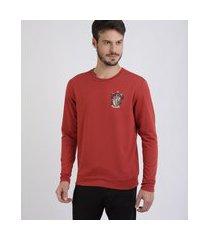 blusão de moletom masculino grifinória vermelho