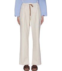 elastic drawstring waist stripe wide leg pants