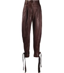 dolce & gabbana tie-up leather trousers - brown