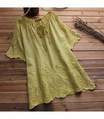 zanzea mangas cortas ojo de la cerradura largo tapas de la camisa de la manga acampanada ganchillo de la blusa del tamaño extra grande -amarillo