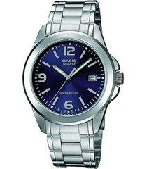 reloj casio mtp 1215a 2a lujoso para hombre plateado/ azul