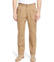 men's berle charleston pleated chino pants, size 42 - beige