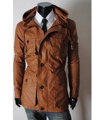 handmade new men stylish chic brown long leather jacket, men leather jacket