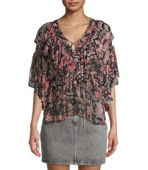 iro women's pasco ruffle blouse - black red - size 34 (2)