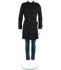 burberry kensington black cotton belted trench coat men's black sz: l