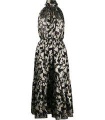 saint laurent long lavallière halterneck dress - black