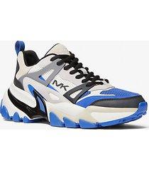 mk sneaker nick in pelle e mesh - blu marea (blu) - michael kors