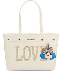 love face charm-embellished tote