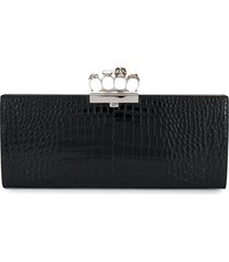 alexander mcqueen four ring large clutch - black