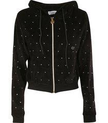 chiara ferragni chenille crystal zip hoodie