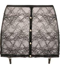 maison close lace suspender skirt - black