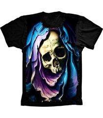 camiseta baby look lu geek aveira skull preto